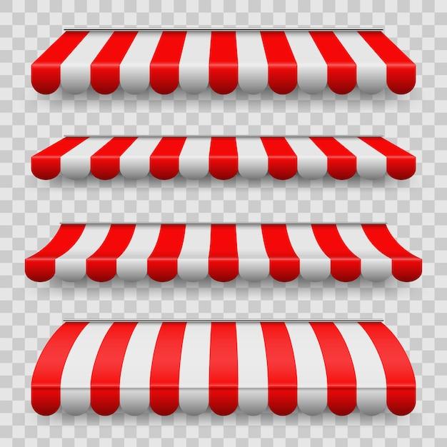 Set di tende a strisce colorate Vettore Premium