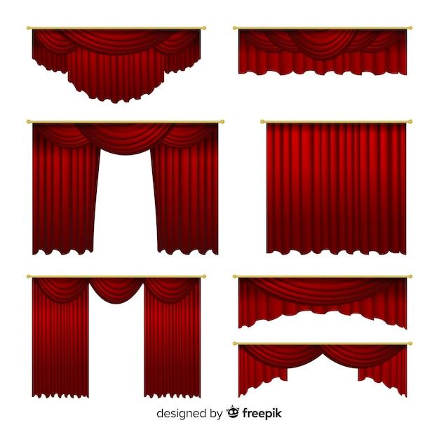 Set di tende rosse realistiche Vettore gratuito