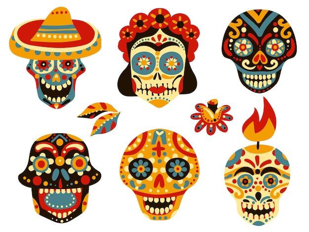 Set di teschi messicani Vettore gratuito