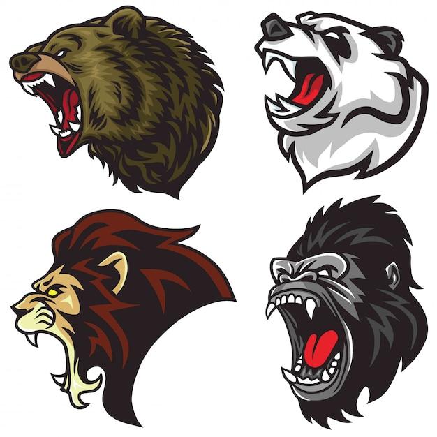 Set di teste di animali selvatici. leone, orso, gorilla, panda, logo mascotte Vettore Premium