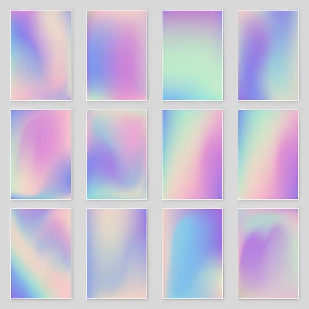 Set di texture astratta stagnola olografica iridescente moderna. vettore di lamina olografica Vettore Premium