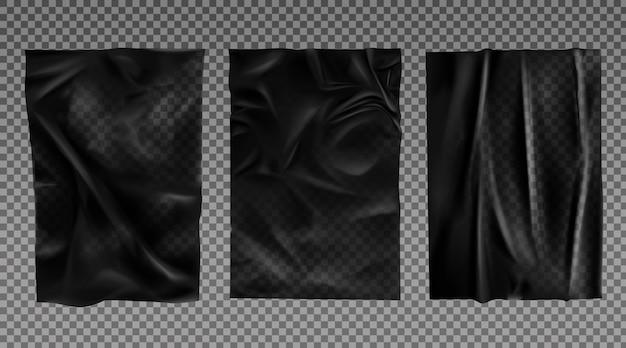 Set di texture di carta bagnata nera Vettore gratuito