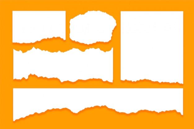 Set di texture di fogli di carta strappato strappato Vettore gratuito