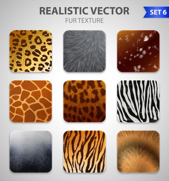 Set di texture di pelliccia di animali selvatici Vettore gratuito