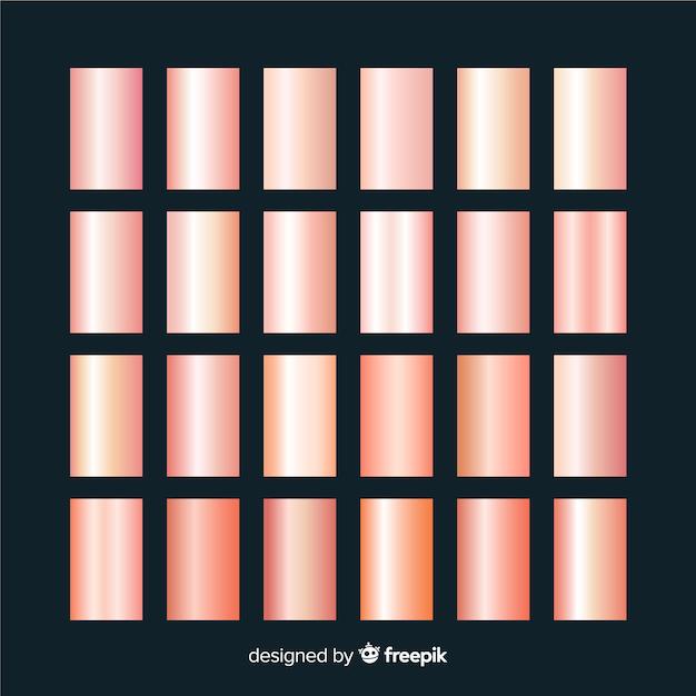 Set di texture in oro rosa Vettore gratuito