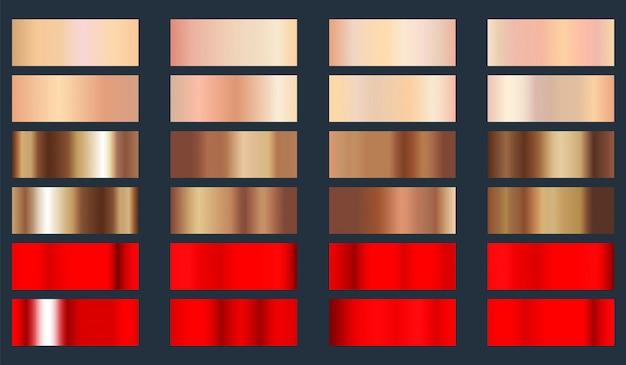 Set di texture lamina metallica oro rosa, bronzo e rosso. Vettore Premium