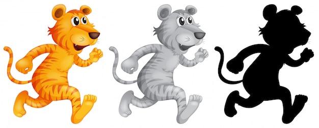 Set di tigre in esecuzione Vettore gratuito