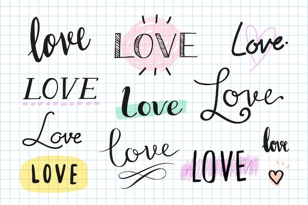 Set di tipografia scritta a mano di amore Vettore gratuito