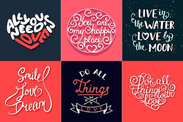 Set di tipografia unica disegnata a mano romantica Vettore Premium
