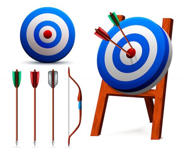 Set di tiro con l'arco obiettivi realistici Vettore gratuito