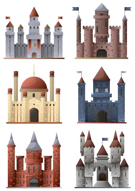 Set di torri e castelli Vettore Premium