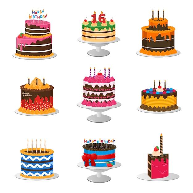 Set di torte di compleanno Vettore Premium