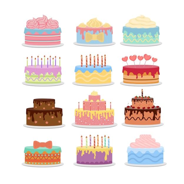 Set di torte differetn. torte natalizie con decorazioni. Vettore Premium
