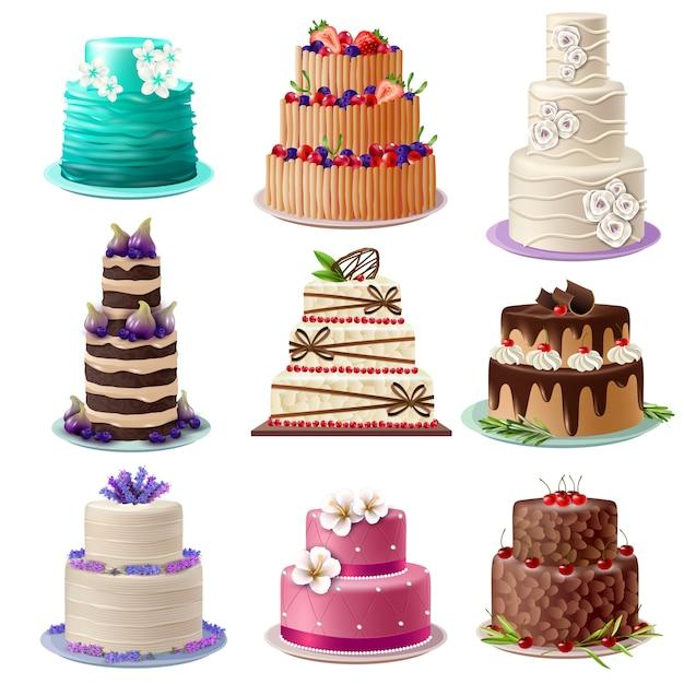 Set di torte dolci al forno Vettore gratuito
