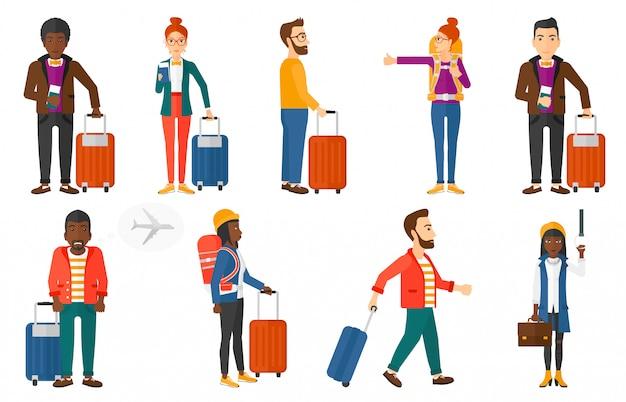 Set di trasporto con persone che viaggiano. Vettore Premium