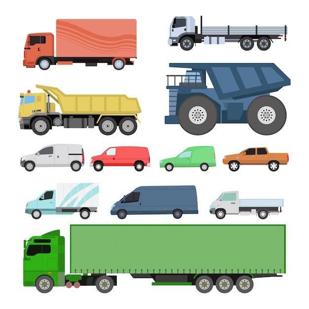 Set di trasporto di auto diverse. Vettore Premium