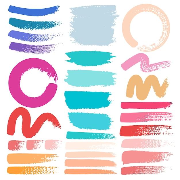 Set di tratto di pennello, pennellate di inchiostro colorato grunge. Vettore Premium
