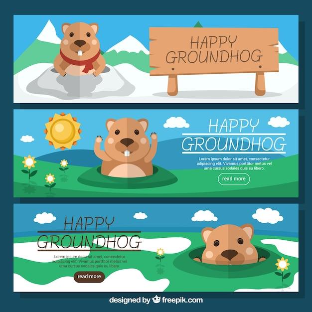 Set di tre bandiere belle groundhog in design piatto Vettore gratuito