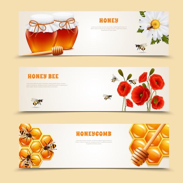 Set di tre banner di miele Vettore gratuito