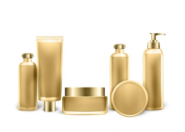 Set di tubi color oro, bottiglie e spray Vettore Premium