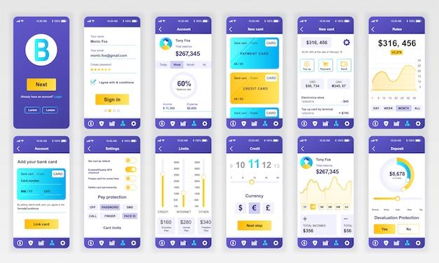Set di ui, ux, schermate gui app bancaria piatta Vettore Premium