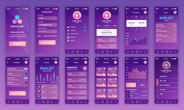 Set di ui, ux, schermate gui app di cryptocurrency piatta Vettore Premium