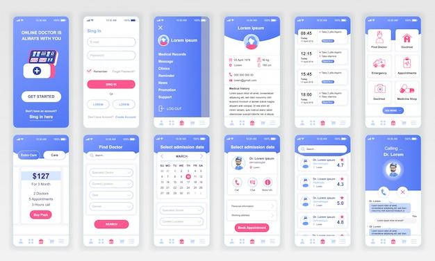 Set di ui, ux, schermate gui app di medicina piatta Vettore Premium