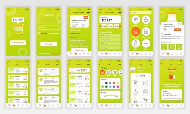 Set di ui, ux, schermate gui app per acquisti piatta Vettore Premium