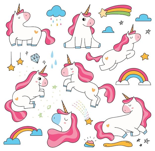 Set Di Unicorno Simpatico Cartone Animato Isolato Su Sfondo Bianco