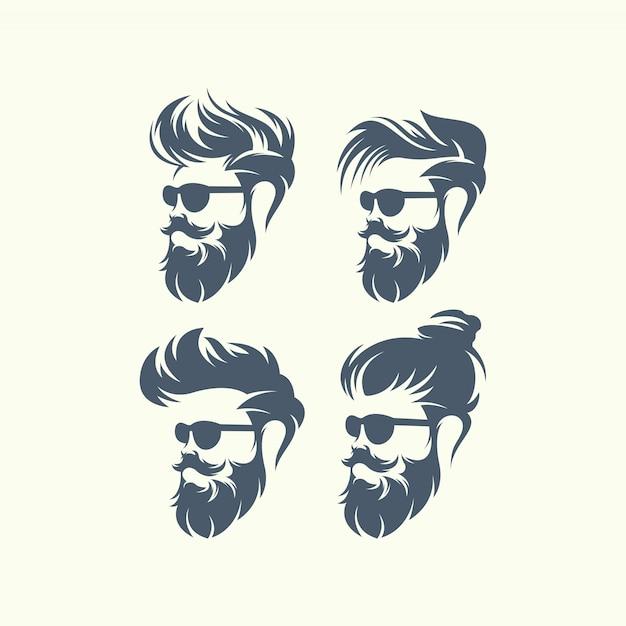 Set di uomini con barba vettore affronta hipsters con diversi tagli di capelli, baffi, barbe. Vettore Premium