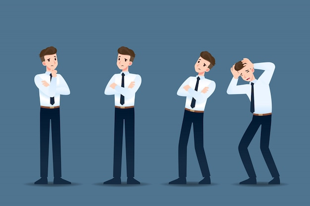 Set di uomo d'affari in 4 diversi gesti. Vettore Premium