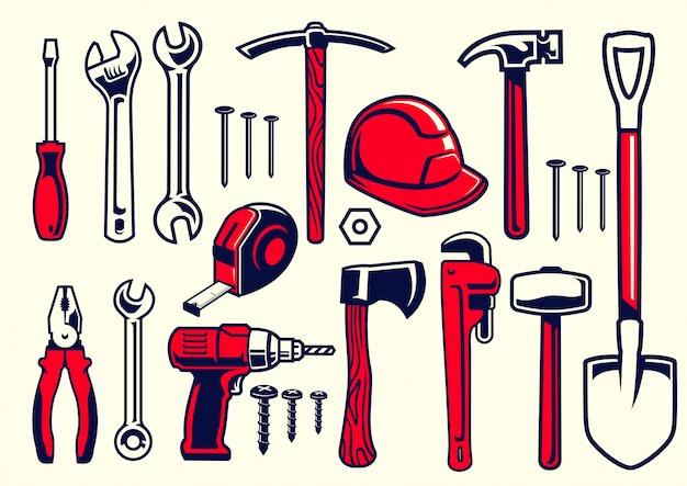 Set di utensili a mano lavoratore Vettore Premium