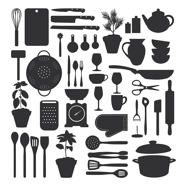 Set di utensili da cucina isolato Vettore Premium
