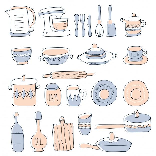 Set di utensili da cucina per cucina casalinga e strumenti in stile doodle. Vettore Premium