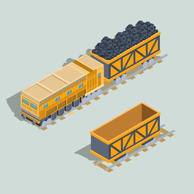 Set di vagoni locomotori e ferroviari con vettore isometrico a carbone Vettore gratuito
