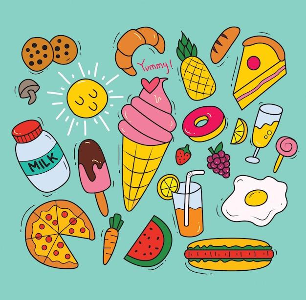 Set di vari alimenti in stile doodle Vettore Premium
