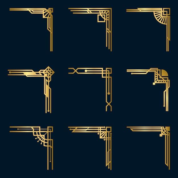 Set di vari angoli vintage in oro Vettore gratuito