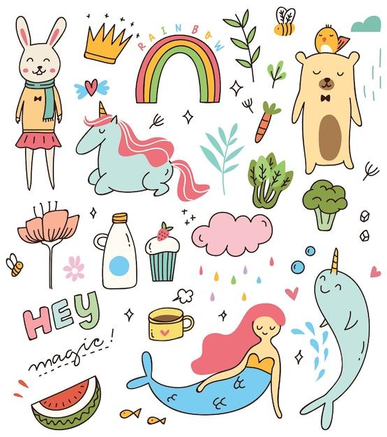 Set di vari doodle isolato su sfondo bianco Vettore Premium