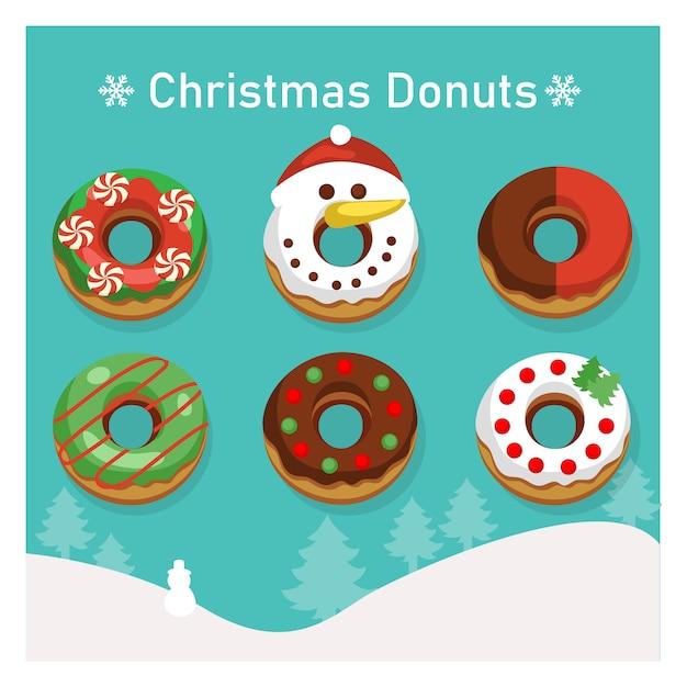 Set di varietà ciambelle colorate in tema natalizio. Vettore Premium