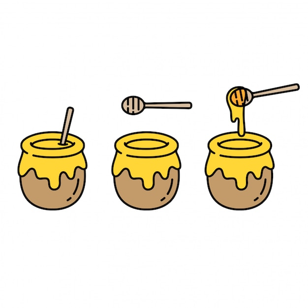 Set di vasi di miele Vettore Premium