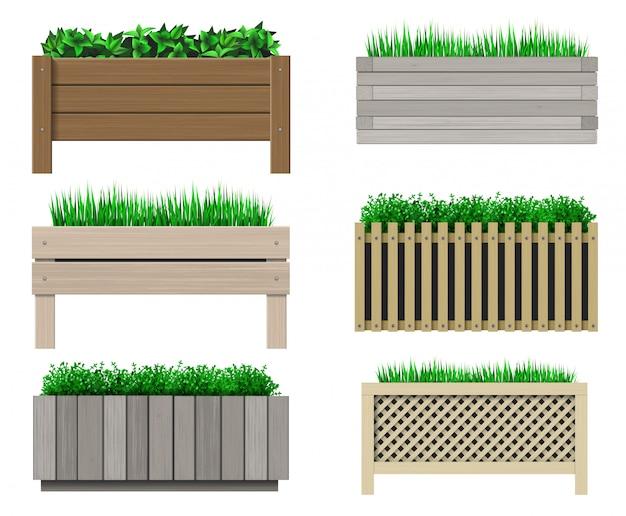 Set di vasi in legno per piante Vettore Premium