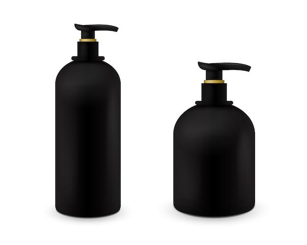 Set di vaso con sapone liquido per il logo e il design è facile da cambiare i colori. contenitore cosmetico nero realistico per crema di sapone, lozione. mock up bottiglia. Vettore Premium