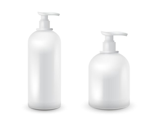 Set di vaso con sapone liquido per il logo e il design è facile da cambiare i colori. realistico contenitore cosmetico bianco per crema di sapone, lozione. mock up bottiglia. Vettore Premium