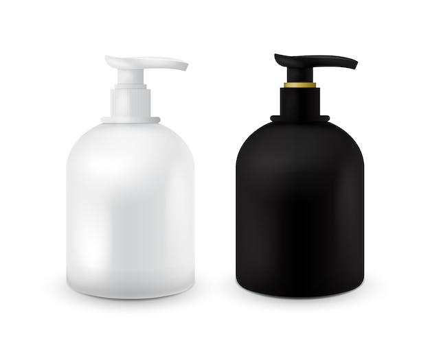 Set di vaso con sapone liquido per il logo e il design è facile da cambiare i colori. realistico contenitore cosmetico in bianco e nero per crema di sapone, lozione. mock up bottiglia. Vettore Premium