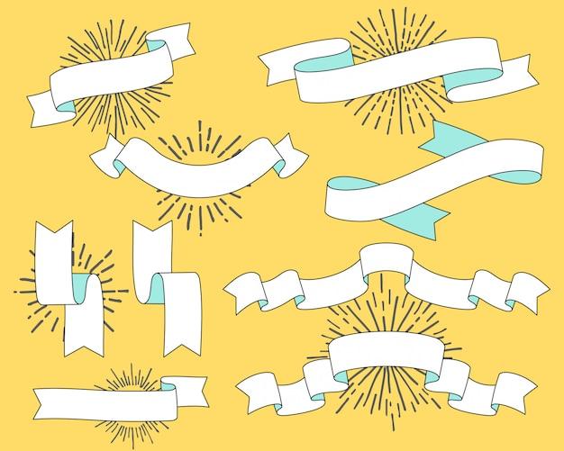 Set di vecchie bandiere del nastro dell'annata Vettore Premium