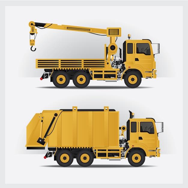 Set di veicoli da costruzione Vettore Premium