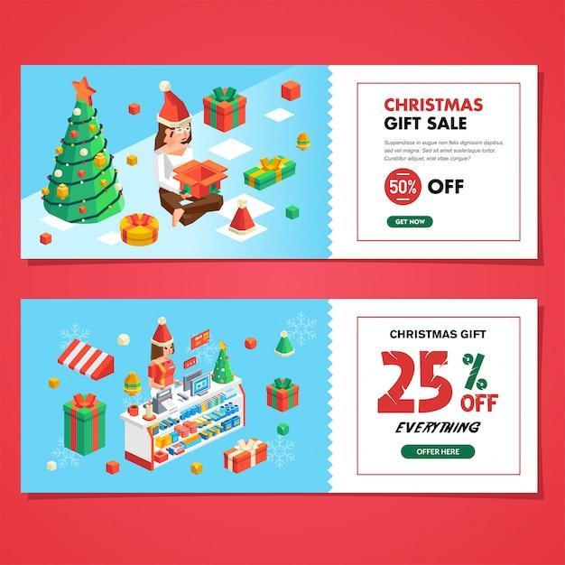 Set di vendita coupon di natale per negozio e negozio, vendita regalo di natale e buono sconto Vettore Premium