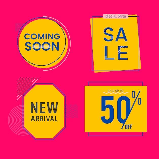 Set di vendita e promozione distintivi vettoriale Vettore gratuito