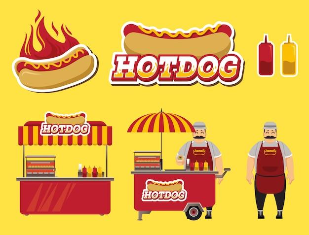 Set di venditori di hot dog Vettore Premium