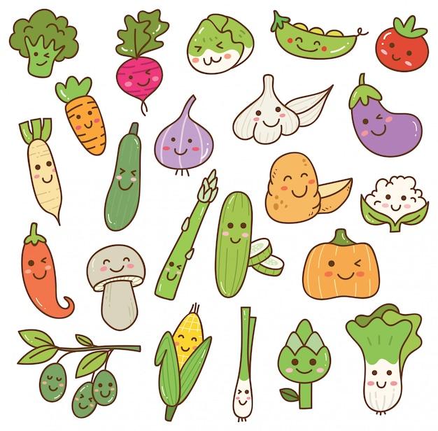 Set di verdure kawaii Vettore Premium